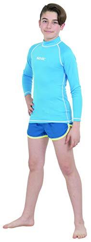 SEAC T-Sun Long Kid, Maglia Protettiva Rash Guard per Snorkeling e Nuoto Anti UV Unisex Bambini, Azzurro, 7 Anni