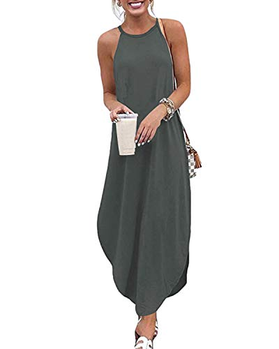 CNFIO Sommerkleid Damen Elegant Kleider V-Ausschnitt Ärmellos Einfarbig Shirt Design Kurz Blusenkleid Minikleid Strand Kleider