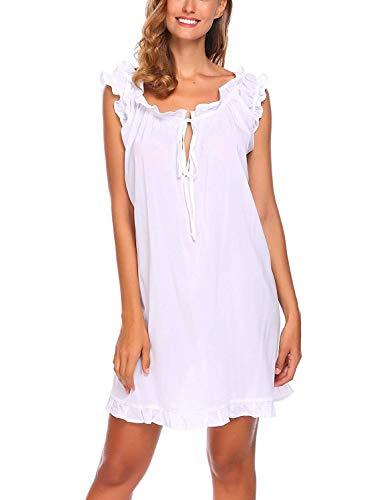 Dames mouwloos nachthemd verwarmen U nacht sche uitsnijding met decoratie Fashion Completi knielange nachtjurk slaapshirt pyjama maat