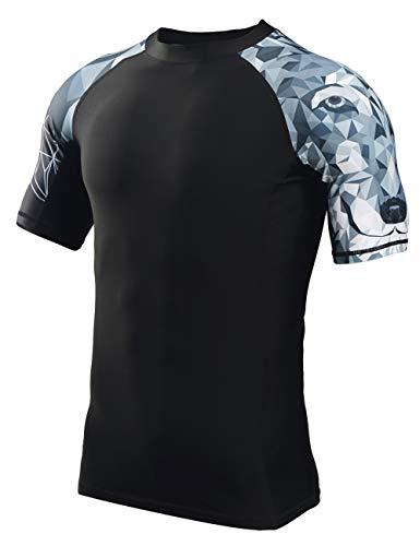 HUGE SPORTS Men's Splice UV Sun Protection UPF 50+ Skins Rash Guard Short Sleeves(Wolf,M)