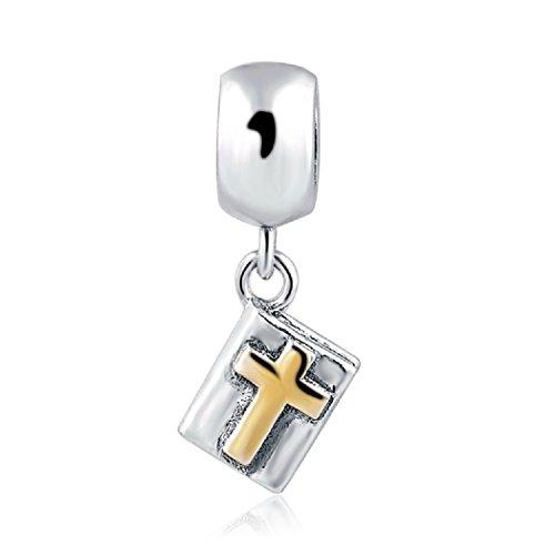 featherwish 925Sterling Silber Gold Kreuz Bibel Buch Charm für Pandora Armband