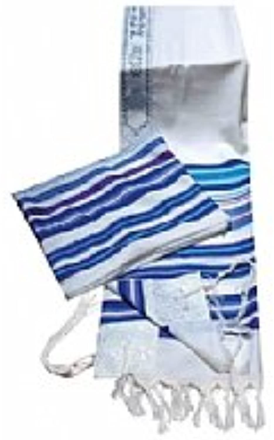 100% Wool Multi bluee colors Striped Bnei Or Tallit and Tallit Bag Set 36  L X 72  W