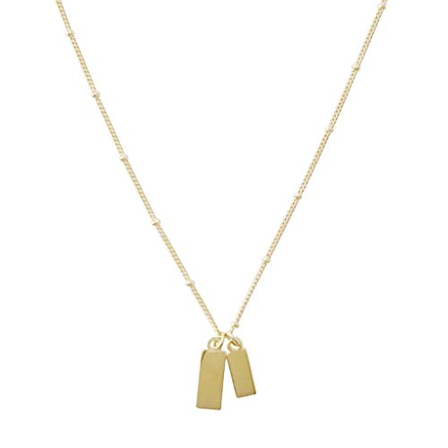 HONEYCAT Tiny Dog Tag Together Necklace in Gold, Rose Gold, or Silver | Minimalist, Delicate Jewelry (Gold)