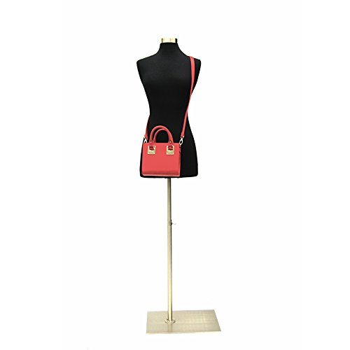 (JF-F2/4BK+BS-05) Size 2-4 Premium Black Female Fully Pinnable Mannequin Dress Form with Rectangle Brushed Metal Base with Top