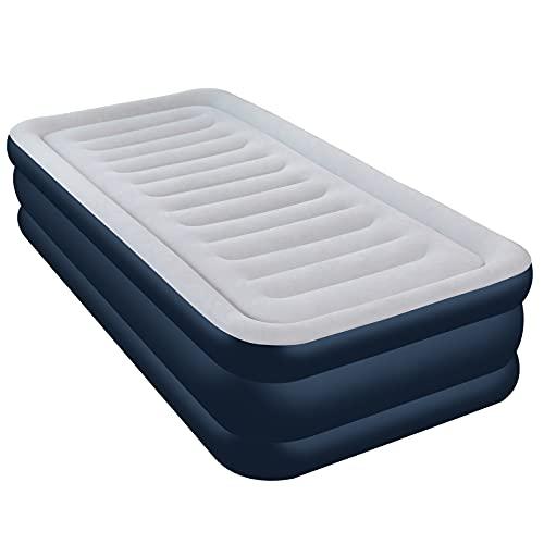 Aufblasbare Matratze, Luftbett mit eingebauter elektrischer Pumpe, integrierte erhöhte aufblasbare Matratze für Übernachtungsgäste, geeignet für Twin Size für 1 Person - 203 x 99 x 46 cm