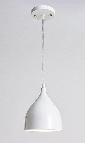 Suspension moderne E27 - Ronde et minimaliste - Réglable en hauteur - En aluminium - Blanc - Pour chambre à coucher, grenier, chambre, restaurant - Diamètre : 17 x 19 cm
