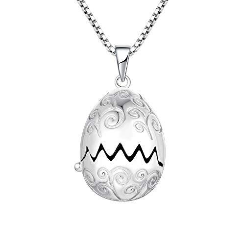JO WISDOM Damen Kette aus 925 Silber Drachen Ei Medaillon Anhänger