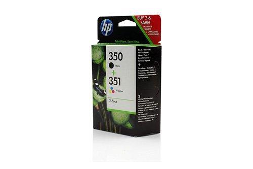 Original Tinte passend für HP PhotoSmart C 4486 HP Nr 350 & Nr 351 SD412EE - 2x Premium Drucker-Patrone - Schwarz, Cyan, Magenta, Gelb - 4,50 & 3,50 ml