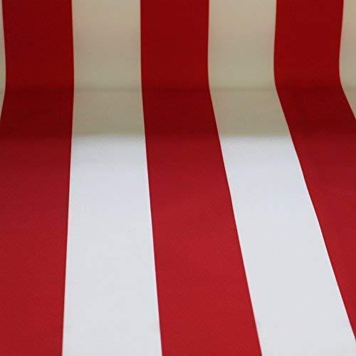 NOVELY® Sunrise Oxford 420D Markisenstoff | Weiß Rot | extrem reißfestes und dichtes Gewebe | UV-beständig (4-5 von 8) | Polyester Stoff Outdoor Meterware Strandkorb Zeltstoff wasserdicht