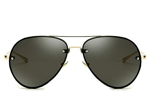 Gafas de sol de aviador con marco de metal y puente doble, diseño clásico UV400, Negro (Transparente Negro), Large