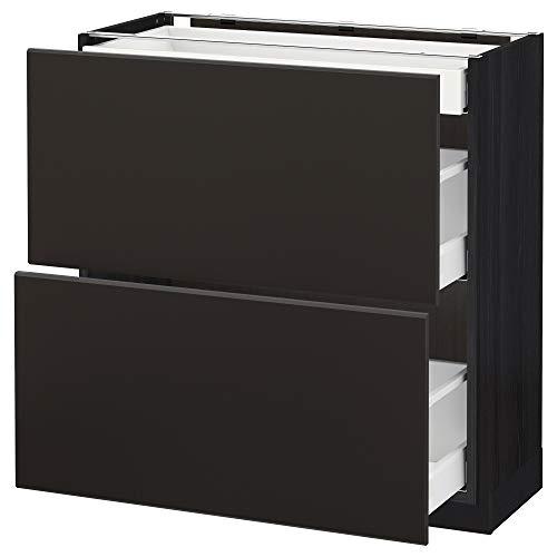METOD/Maxim bashytt med 2 fronter/3 lådor 80 x 39,2 x 88 cm svart/Kungsbacka antracit