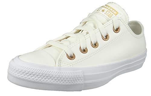 Converse Damenschuhe-Sneaker 568662C Chuck Taylor All Star OX Leder weiß Egret Gold White, Groesse:41 EU