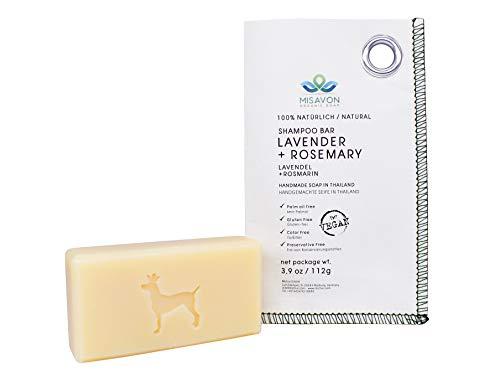 MISAVON festes Shampoo LAVENDER+ROSMARY- Naturkosmetik mit Lavendel und Rosmarin, 100% Natur Haarseife mit ätherischen Ölen, Vegan, Handgemacht, 112g