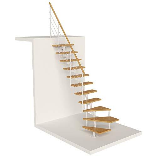 DOLLE Raumspartreppe Boston | 11 Stufen | Geschosshöhe 228 – 300 cm | ¼-gewendelt | Buche, lackiert | Unterkonstruktion: Weiß (RAL 9016) | volle Stufen 70 cm | inkl. Geländer | Nebentreppe