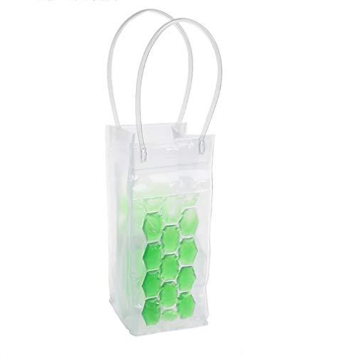 Botella de Vino Bolsa de congelador Enfriador de enfriamiento Bolsa de Hielo Soporte de Gel de enfriamiento de Cerveza (Verde)