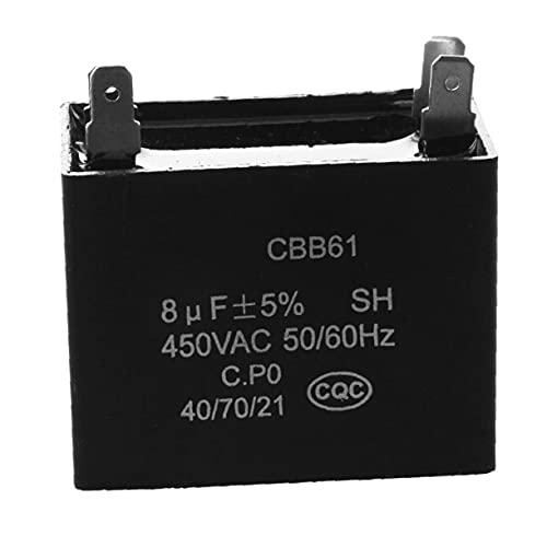 Mini CBB61 Fanífero de techo condensador Fan Motor Capacitor 450VAC 8UF 4 Terminales - Negro Oficina Electrónica