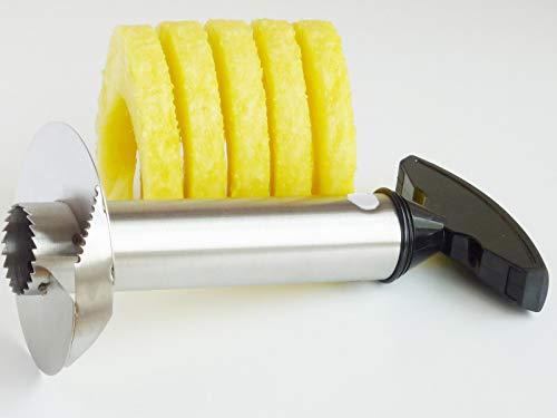 EUROXANTY® Cortador de piña | Pelador de piña | Acero Inoxidable | Pelar y Cortar sin Esfuerzo | Mango ergonómico | Vaciador de 25 cms de Profundidad.
