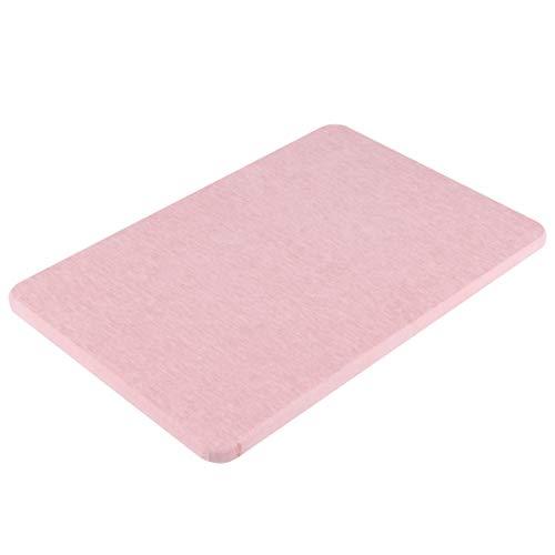 Wakauto Alfombra de Baño de Diatomeas Antideslizante Baño de Secado Rápido Alfombra de Piso de Tierra Alfombra de Puerta para Baño SPA Piscina (Rosa L 60X39cm)