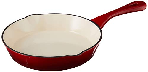 Crock Pot 111974.01 Artisan 8 Inch Enameled Cast Iron Round Skillet, Scarlet Red
