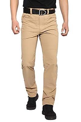 Hiauspor Men's Hiking Pants Outdoor Lightweight Quick Dry Pant for Travel Camping Fishing (Khaki-01, L)
