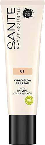 Sante Naturkosmetik Hydro Glow BB Cream 01 Light-Medium, Feuchtigkeitsspendend, Bio-Extrakte, Vegan, 30ml