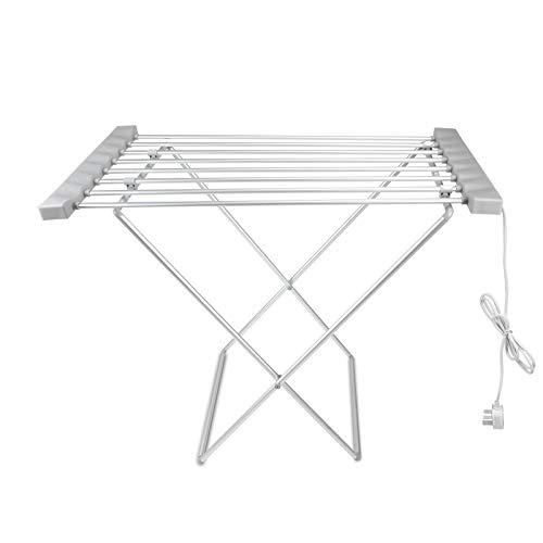 Triclicks Tendedero de Ropa con calefacción eléctrica,Tubos de Acero Inoxidable Tendedero de lavandería Multifunctional For Indoor Balcony Bathroom, 94,5 × 50 × 72 cm