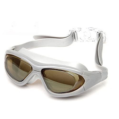 LANGTAO Gafas Natación, Gafas Natación Impermeables Y Antivaho, Gafas Alta Definición Anti-Ultravioleta, Adecuadas para Hombres Y Mujeres Adultos Que Nadan Y Bucean,Plata