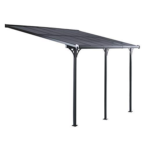 GARDIUN KIS13018 - Pérgola de Pared Elliot - 18.8 m² 619 x 305 x 227/272 cm, Aluminio y Policarbonato