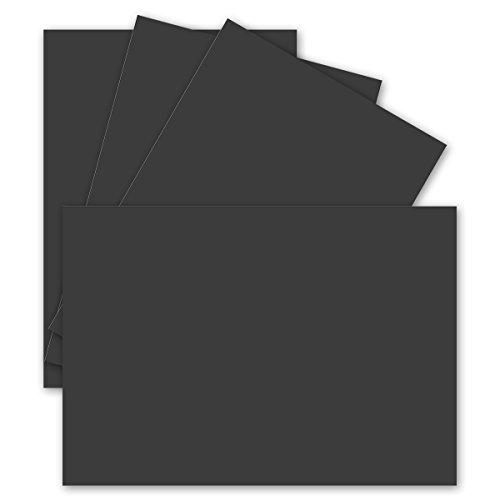 50 Einzel-Karten DIN A6-10,5 x 14,8 cm - 240 g/m² - Schwarz - Ton-Papier Qualität, Bastel-Karten - Bastelkarton - blanko Postkarten