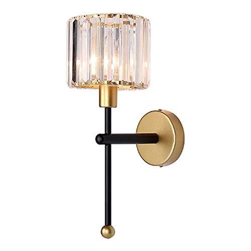 MZStech E14 Lámparas de pared de estilo minimalista moderno Iluminación, Lámpara de pared de cristal transparente, Apliques de pared para pasillos, Lámparas de pared de noche para dormitorio (Negro)