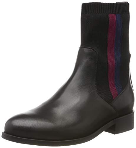 Tommy Hilfiger Damen Knitted Flat Boot Stiefeletten, Schwarz (Black 990), 38 EU