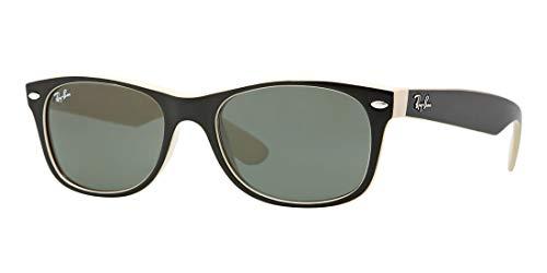 Ray-Ban RB2132 New Wayfarer Classic - Gafas de sol unisex (marco negro beige / verde 875, 52)