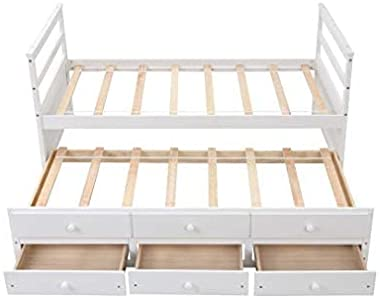 Twin Bed with Trundle and 3 Storage Drawers, Captain Bed Frame with Headboard and Footboard, Wood Daybed Bed with Pull Out Be