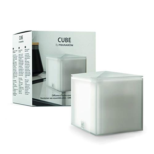 Pranarôm - Diffuseur d'Huile Essentielle Cube Gris Clair - Diffusion Ultrasonique - Design Tendance