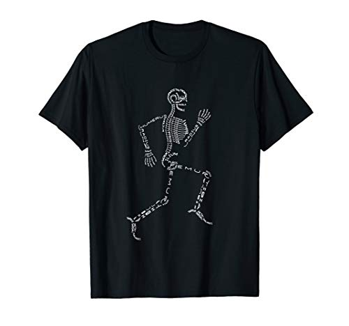 Human Skeleton Running Bone Names Anatomy Labels for Geeks T-Shirt