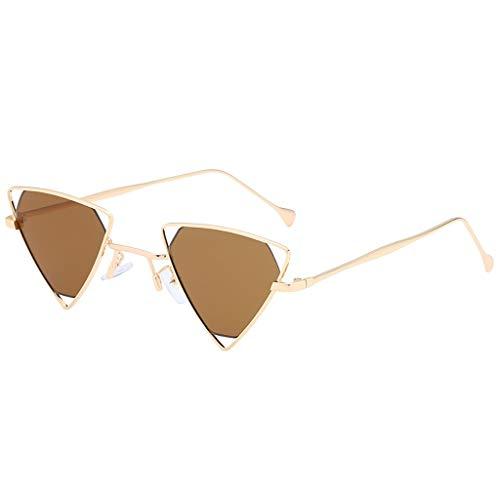 Moderne Sonnenbrillen Vollrand Charmante Damen mit bunten Dreieck Brille Mode Mädchen Eyewear Metallrahmen hohe Qualität Einzigartiges Spezielles Design(D,free)