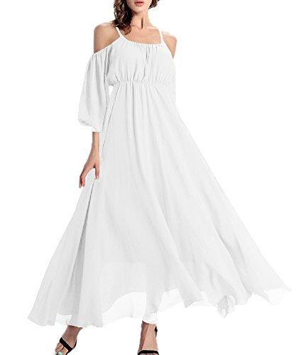 Afibi Women's Off-Shoulder Long Chiffon Casual Dress Maxi Evening Dress (Small, White)