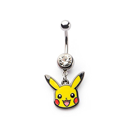 Pokemon 14g 7/16 Navel with Pikachu Head Dangle Charm