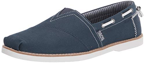 Skechers Chill Luxe-Industrial Zapato de lona sin cordones para mujer, azul (Azul marino/flor y brillo), 35 EU