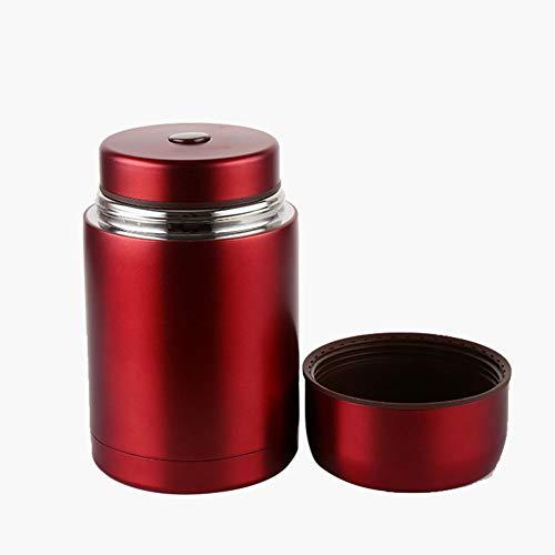 Thermobehälter Dopelwandig Edelstahl Vakuum Isolier Speisegefäß 1l Dicht Für Warme Speisen Essen Suppe(Red)