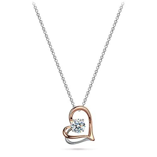 Kate Lynn Cadena para mujer de plata de ley 925 con colgante de corazón, regalo para mujeres y niñas, joyas de fantasía para cumpleaños, aniversario, boda, regalo para madres, parejas, amigos