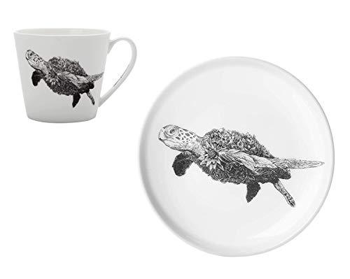Maxwell & Williams Marini Ferlazzo Becher und Teller Sea Turtle Schildkröte aus Bone China Porzellan