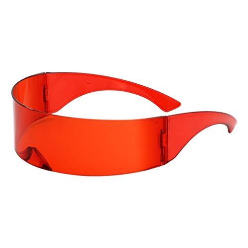 Amuzocity Futuristische Sonnenbrille verspiegelte Partybrille Soldat Space Alien Robot Brille für Halloween Fasching Karneval Party - Rot