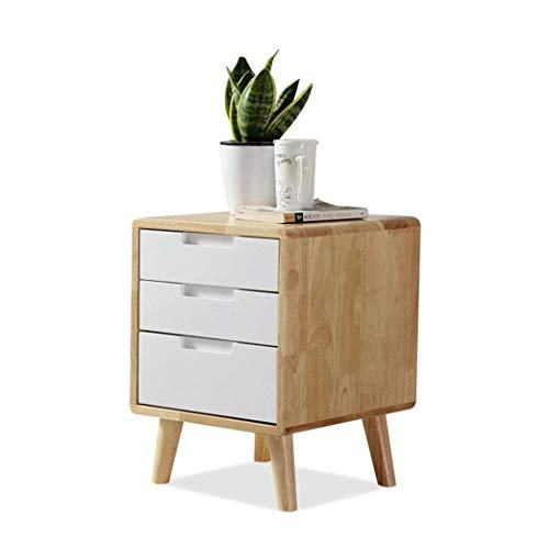 RUIXFEC 3 Drawer Bedside Cabinet, Bedside Table,Night Stand, Wood Color+White Drawer