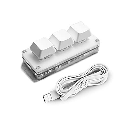 Ecarke USB Mini 3-Key Keypad Mechanical Gaming Keyboard Programming Macro with Software OSU HID Standard Keyboard