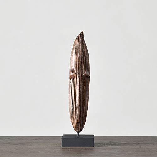 Natual (Natual) Bois Ornement pour Bureau Décor à La Maison Parfait Cadeaux,Moai Monolith Sculpture,Tête Statue-A 9 * 34cm