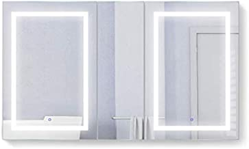 Krugg LED Medicine Cabinet 60 Inch X 36 Inch   Recessed or Surface Mount Mirror Cabinet w/Dimmer & Defogger + 3X Makeup Mirror Inside & Outlet + USB … (Left Right Right)
