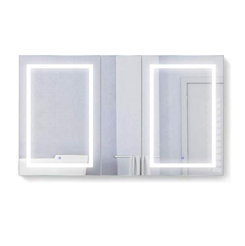 Krugg LED Medicine Cabinet 60 Inch X 36 Inch   Recessed or Surface Mount Mirror Cabinet w/Dimmer & Defogger + 3X Makeup Mirror Inside & Outlet + USB … (Left Left Right)