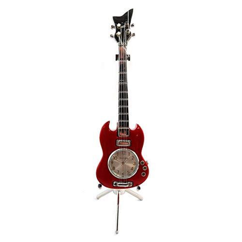 Les Trésors De Lily [Q5121 - Pendule Design 'Guitare Electrique' Rouge - 16x4.5x4 cm