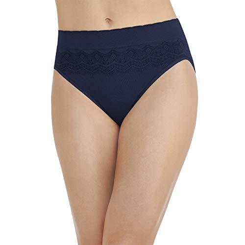 Vanity Fair Women's No Pinch No Show Panties, Hi Cut-Ghost Navy Lace, 7